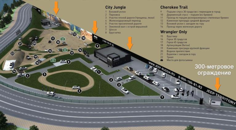 Строительство 300-метрового рекламного забора Jeep Territory Moscow