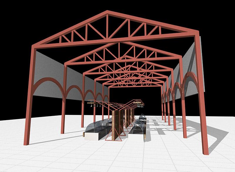 Монтаж конструкции торгового павильона