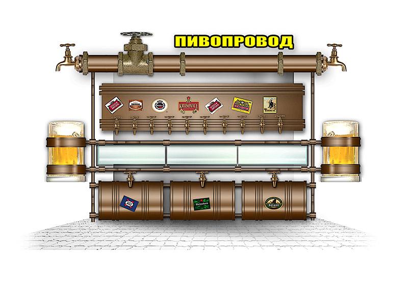 Эскиз фасада торгового павильона по продаже пива
