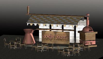 Эскизный проект оформления торговой зоны кофейни