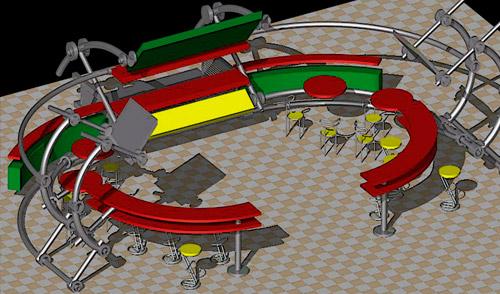 Дизайн зон отдыха для фуд-кортов